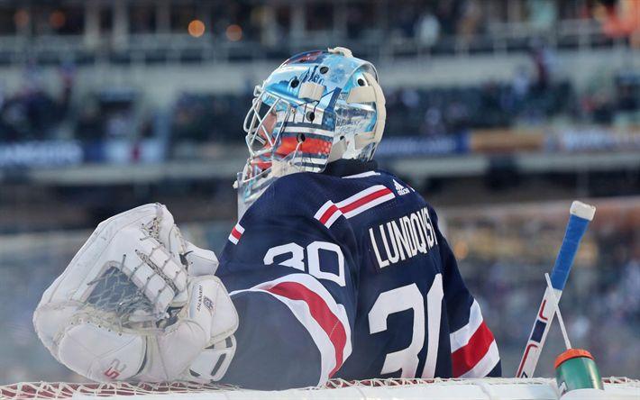 Download wallpapers Henrik Lundqvist, 4k, hockey players, goalkeeper, New York Rangers, NHL, hockey