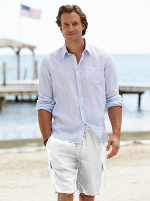 menswear  l linen white shorts and shirt l men's resort / beach fashion style l #mens  beach casual styling