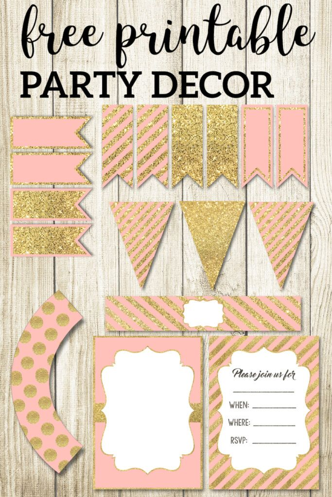 Pink And Gold Free Printables Paper Trail Design Baby Shower Party Decorations Trendy Baby Shower Ideas Diy For Girls