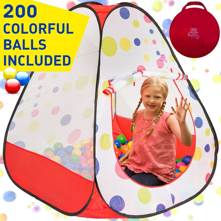 Kiddey Ball Pit Play Tent with 200 Balls, Pop Up Triangle Kids Play Tent – Crush Proof Balls, Great for Boys & Girls, Toddlers & Babies – Indoor/Outdoor Use, W/ Carrying Case for Balls and Ball Pit