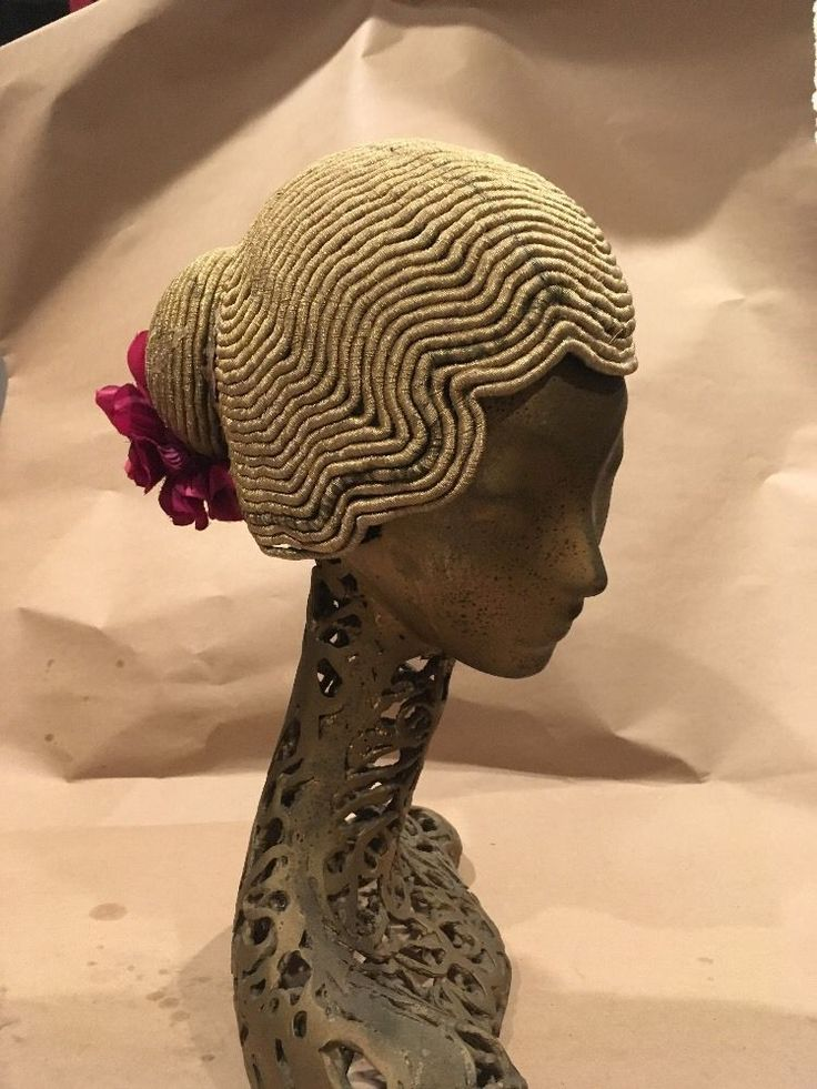 Deco Flapper Wig Headdress Vintage Hat Gold Bullion Helmet Gold   | eBay