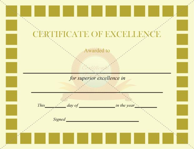 Excellence Certificate Olive Squares Template CERTIFICATE OF - printable certificates of completion