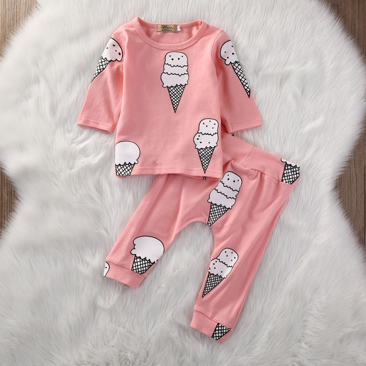Pink Newborn Baby Girls Clothes Infant Bebes Long Sleeve Ice Cream T shirt Top Pant 2PCS. Click visit to buy #BabyGirlClothingSet #BabyGirl #ClothingSet