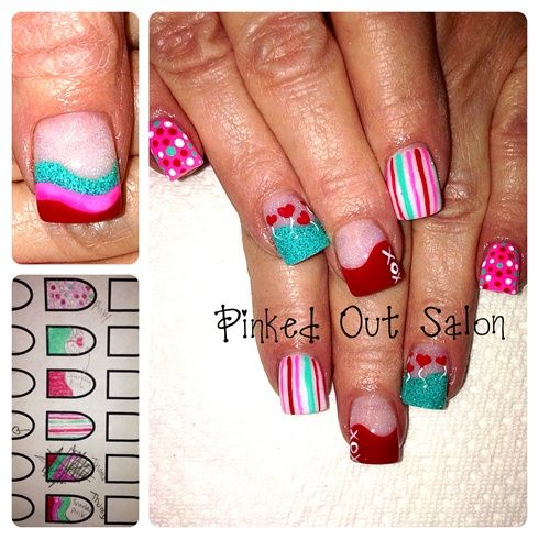 Bright Valentines by AndreaLosee from Nail Art Gallery