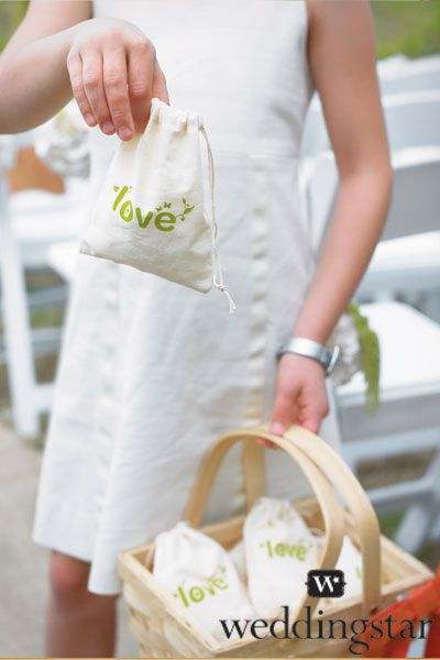 Give environmentally friendly wedding favors to your guests in our 100% Organic Cotton Mini Drawstring Bags (#9070). love, #green, eco, natural, wedding, favour/favor, ecological footprint, wedding planning, #weddingstar.