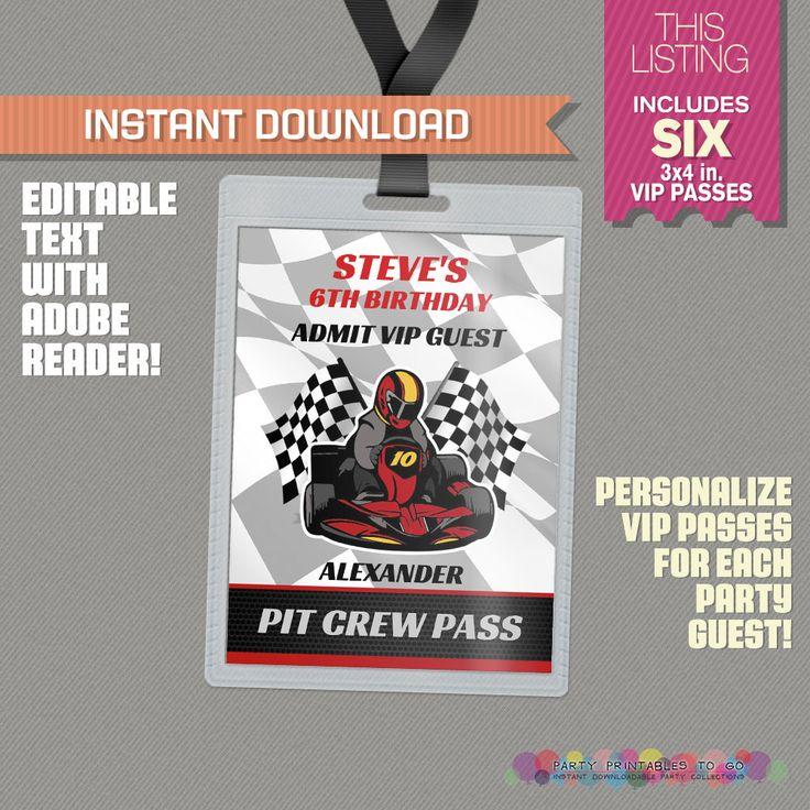 Go Kart Party Pit Crew Pass printable Insert - Go Kart Birthday, Go Kart Party…