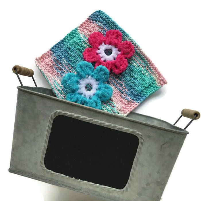 Flower Scrubbies,Dishcloth,Galvanized Tub Gift Set,2 Flower Scrubbies,Cotton Washcloth,Large Galvanized Tub with Chalkboard Surface,Gift by AllSylviasCreations on Etsy