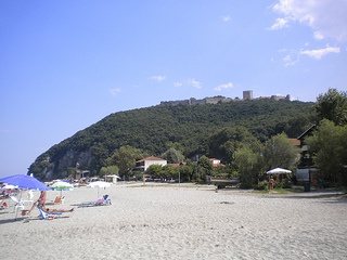 Castle of Platamonas and beach of Saint Panteleimonas. More at http://www.blogtravels.gr/2012/09/panteleimonas-castleofplatamonas/