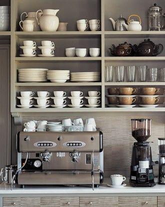 An entire cappuccino counter at Martha's home. Isn't that such a dream?