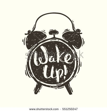 Hand drawn vector grunge illustration of the alarm clock with handwriting inscription Wake up!