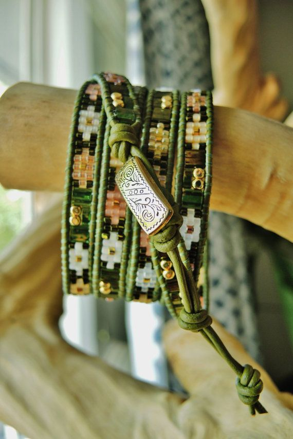 FOREST STAGE 5 Wrap Olive Leather Bracelet by BraceletsofBlueRidge, $115.00