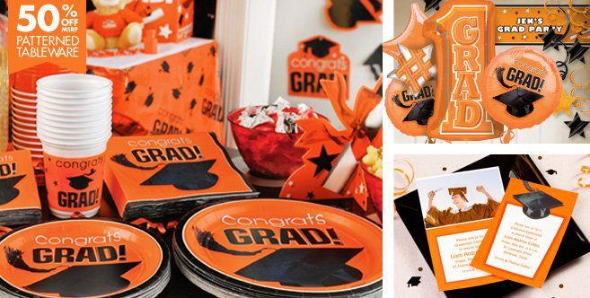 Congrats Grad Orange Graduation Party Supplies - Party City
