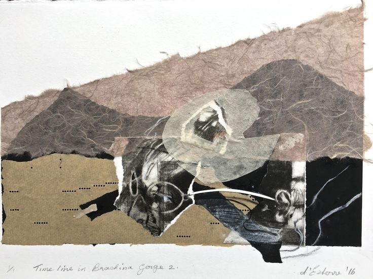 ELAINE d'ESTERRE - Timeline in Brachina Gorge, 2016, etching collage, 30x42 cm. Also at http://elainedesterreart.com/ and http://www.facebook.com/elainedesterreart/ and http://instagram.com/desterreart/