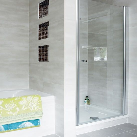 Modern pale grey bathroom | Bathroom decorating | Bathroom design | Bathroom | Ideal Home | IMAGE | Housetohome.co.uk