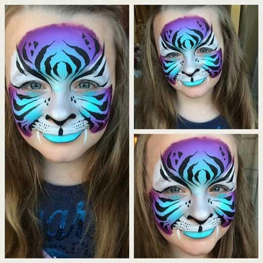 Purple tiger face paint