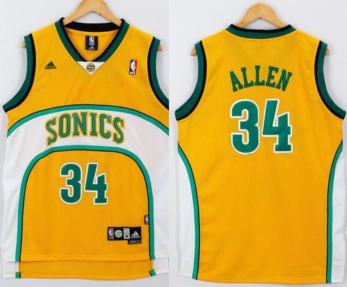 best service 7736c 9e477 Thunder #34 Ray Allen Yellow/White SuperSonics Throwback ...