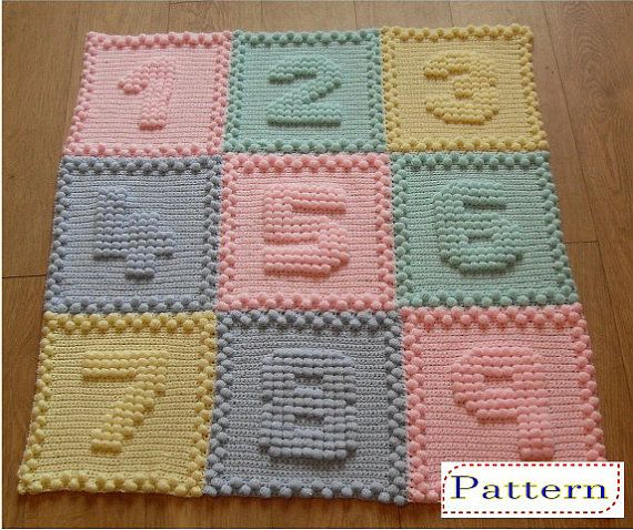 **Numbers Baby Blanket Crochet Pattern ** This is an INSTANT download PDF file for a crochet PATTERN NOT the finished item. Suitable for an advanced beginner, You would need to know how to do the following crochet stitches: - Chain - Single Crochet - Puff Stitch - (Detailed in pattern) (MY HOW TO CROCHET VIDEOS are available to help if needed- copy and paste this link into your browser) https://www.youtube.com/c/VJacksonPeachUnicorn The pattern is written over 14 page...