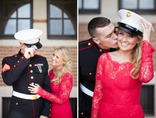 Military engagement photos... love these, so adorable! Her dress is perfect!