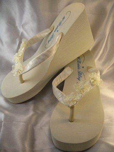 SALE Ivory Flip Flops White Wedge Flip Flops by ABiddaBling