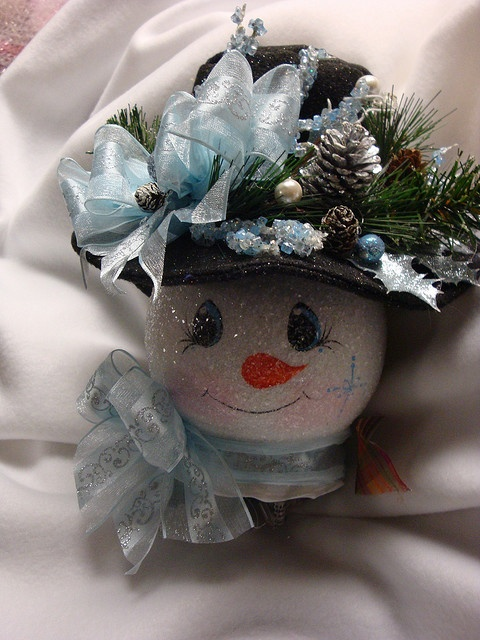 Snowman.  Hand painted, hand made felt hat, embellished in silvers and light blue, lighted ivy bowl