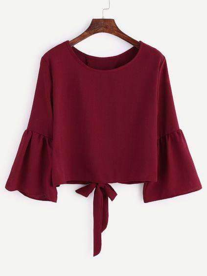 Burgundy Bell Sleeve Bow Tie Back Blouse