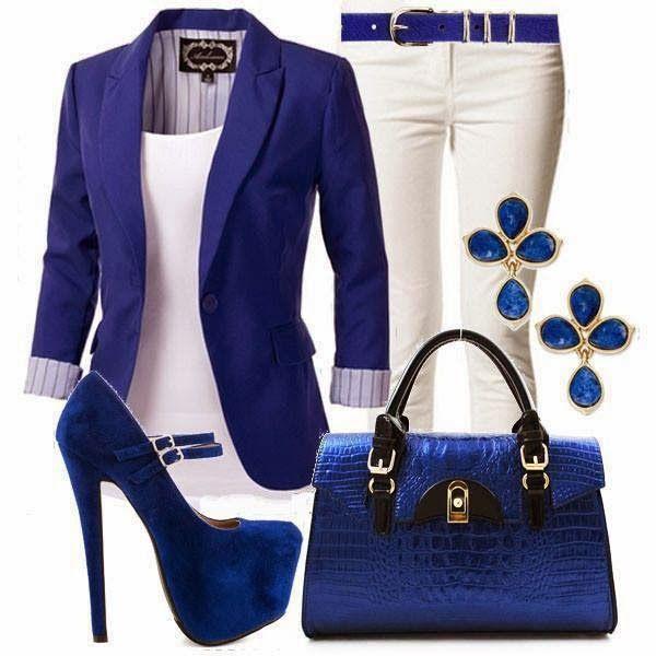 White Bottoms, White, Blue Blazer or Sweater, Blue Accessories