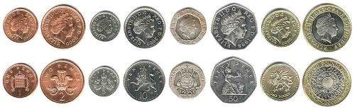Moeda Inglaterra, Reino unido - notas e moedas - Libras