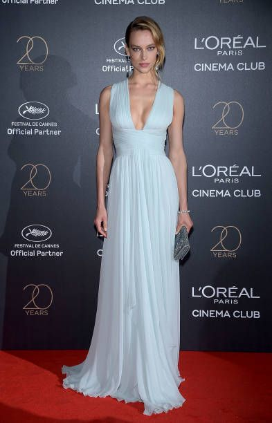 Hannah Ferguson in Zuhair Murad attends the Gala 20th Birthday Of L'Oreal In Cannes during the 70th annual Cannes Film Festival at Martinez Hotel on May 24 2017 in...