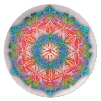Yoga Mandala Meditation Mantra Om -melamine plate