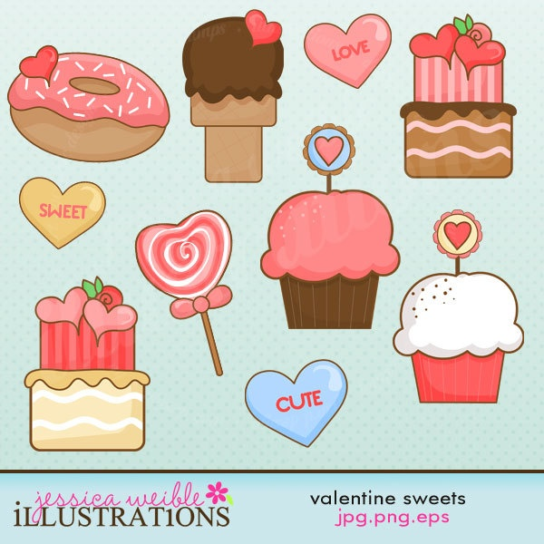 Valentine Sweets Cute Digital Clipart for Card Design, Scrapbooking, and Web Design. $5.00, via Etsy.