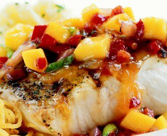 Bonefish Grill's Mango Salsa    Ingredients:    1 1/2 cups mango (ripened)  1 1/2 cups Italian plum tomatoes  1/4 cup Craisins  1/2 cup green onions (white & green - ¼ inch dice)  2 cloves garlic, minced  1 ea. jalapenos, thinly sliced – seeds removed  1/4 cup fresh lime juice  2 tbsp. honey  1/2 cup fresh cilantro, chopped  salt and pepper, to taste  1/2 tsp Cholula hot sauce  2 tsp. chili powder