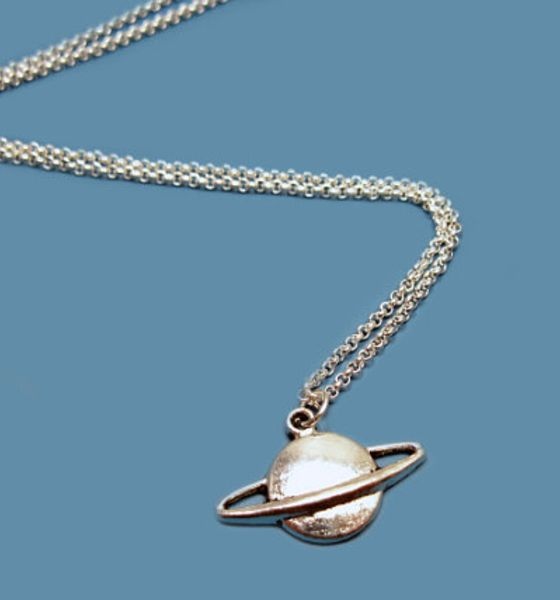 Planet Saturn Necklace - stainless steel chain geek necklace nerd necklace science freak space galaxy fun quirky funky cute funny jewelry I ...