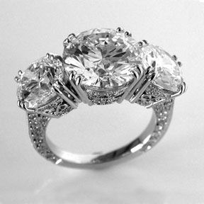 Three stone diamond ring from Oliver Smith Jeweler.