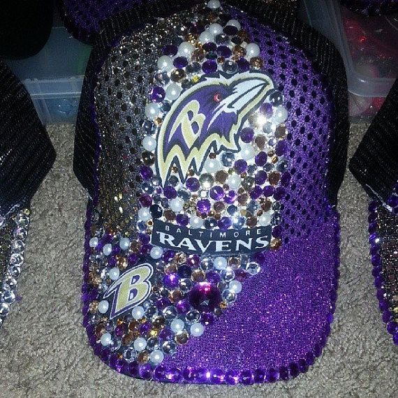 "So she can ""bling"" her support at the game! Baltimore Raven Hats by nakieangel2005 on Etsy, $20.00"