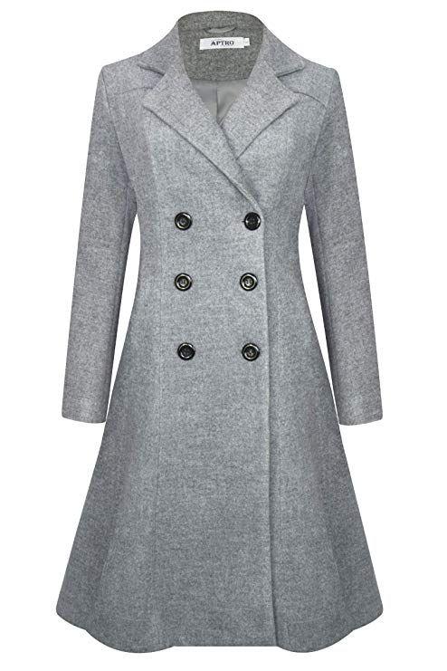 f2b355c97d5c26 APTRO Women's Double Breasted Hemlines Wool Coat Long Winter Coats WS02  Gray L, Coats for