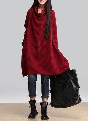 Polyester Jednobarevný Dlouhý rukáv Ke kolenům Neformální Šaty