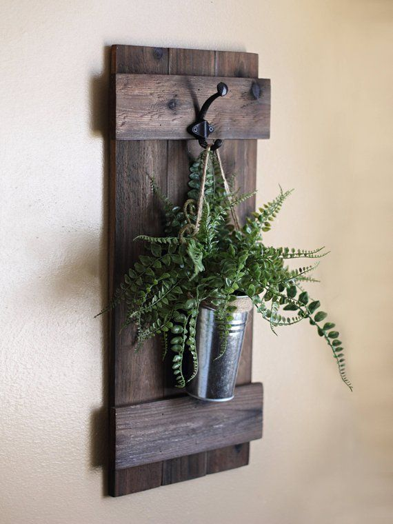 Hanging Wall Planter, Rustic Wall Decor, Indoor Wo…