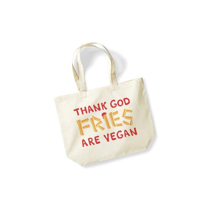 """Torba dla kochających frytki: """"Thank God Fries are Vegan"""""""