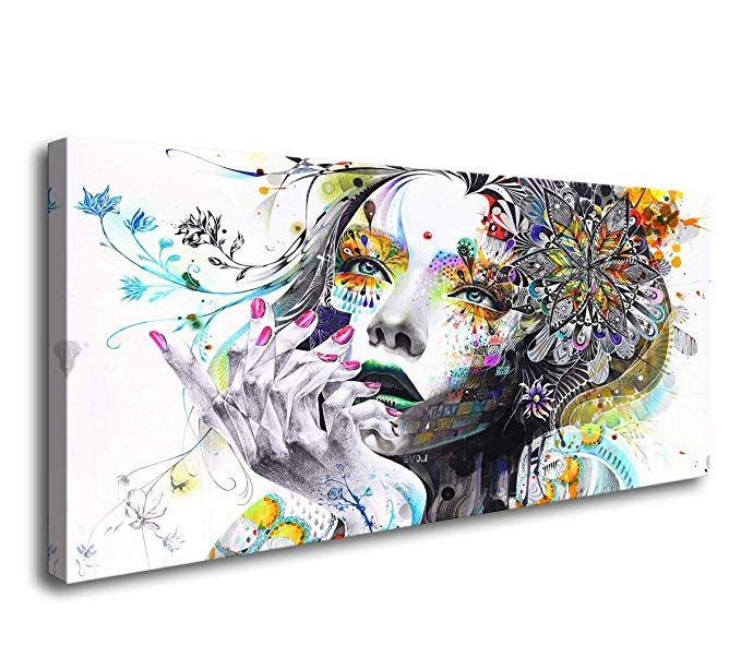 Link Goes To Amazon A74150 Canvas Wall Art Beautiful Flower Girl Painting Posters Print Pictures Stretched Office Wall Decor Canvas Wall Art Painting Of Girl