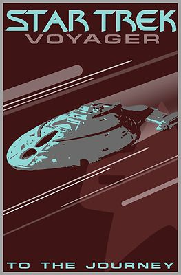 Retro Star Trek: Voyager Poster - Celebrate your love for Star Trek: Voyager along with Captain Janeway, Seven of Nine and the Doctor with this cool, retro style movie poster design. Featuring the Enterprise and the phrase
