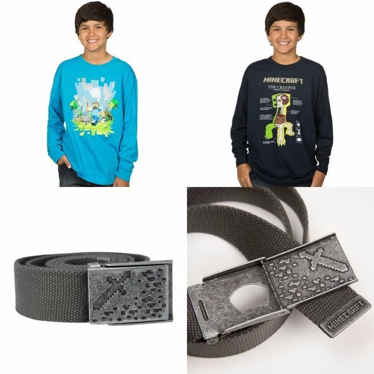 Minecraft Boys Youth Long Sleeve T Shirt Tee OR Ironsword Belt Priced to Clear