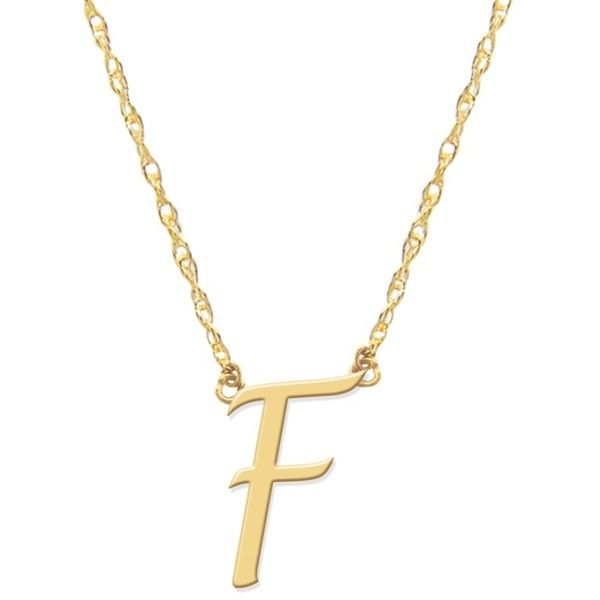 Women's Jane Basch Designs Script Initial Pendant Necklace (19,475 INR) ❤ liked on Polyvore featuring jewelry, necklaces, letter necklace, letter pendants, letter necklace pendant, 14k initial pendant and initial jewelry