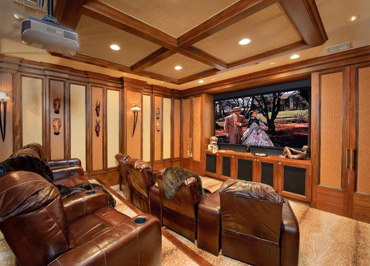 Brown Leather Recliner Home Theater Mediterranean with Beige Carpet Beige Patterned Carpet Brown Leather Lounge Chair Brown Leather Recliner
