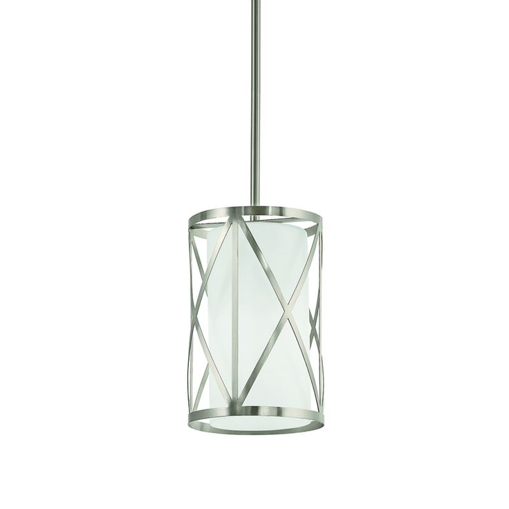 Kichler Lighting Edenbrook Brushed Nickel Country Cottage Mini Etched Glass  Cylinder Pendant   Need At Least 2 Of These!