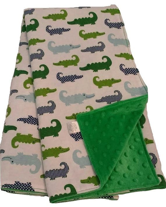 gator baby blanket-green baby blanket-minky dimple dot-minky baby blanket-alligator blanket-nursery decor-crib blanket-nursery blanket-baby