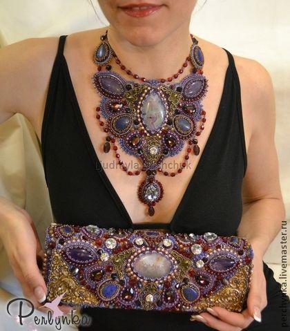 """Genți de mână manual. sac de seara, ambreiaj """"Constance."""" Perlynka (Ljudmila). Masters corect. Visiniu, lapis lazuli naturale"""