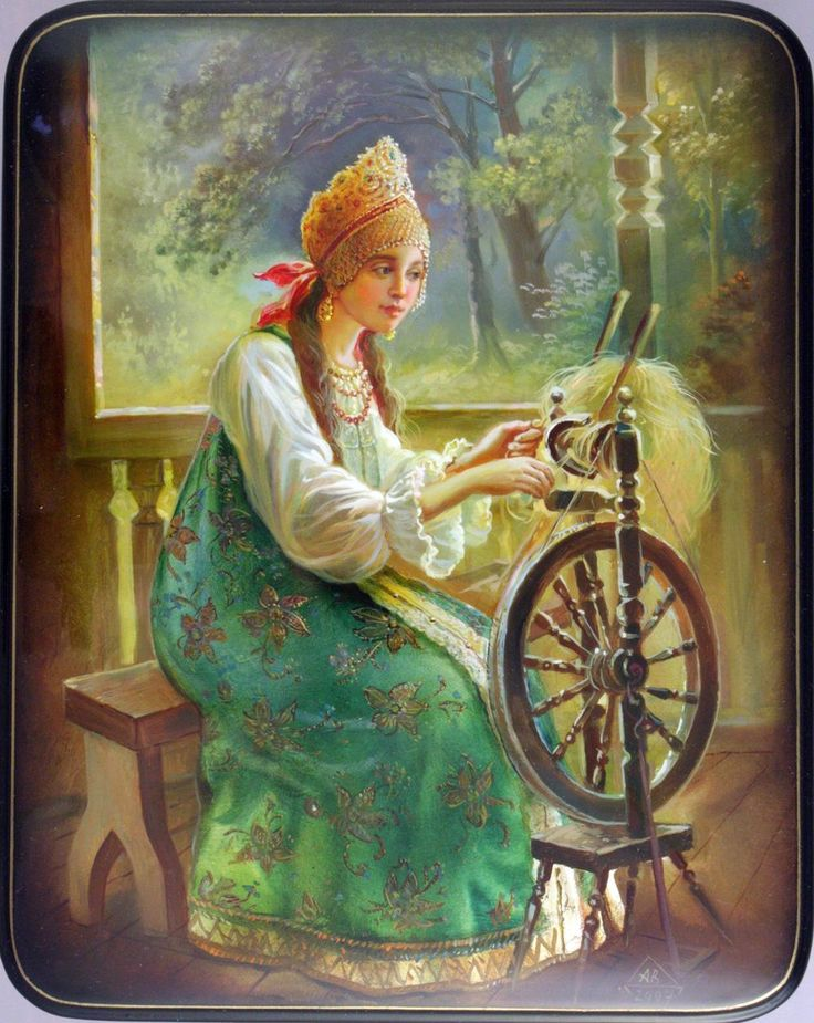 Fedoskino. Russian Lacquer Art Gallery.  Spinner by A. Voronin
