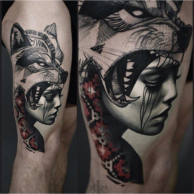 leg tattoo by @timur_lysenko