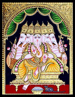 tanjore-paintings-panchamuki-ganesha-ta005.jpg (300×386)