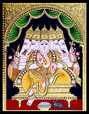 tanjore-paintings-panchamuki-ganesha-ta005.jpg (300×386)